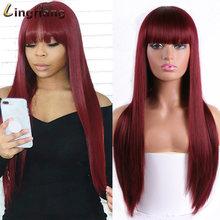 Linghang длинный прямой парик с челкой блонд парики синтетические