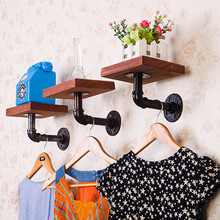American Retro Iron Pipe Solid Wood Decorative Shelf  Industrial Rustic Indoor Shop Restaurant Kitchen Bathroom Wall Board Decor industrial wallshelf rustic modern wood ladder pipe wall shelf 6 layer pipe design bookshelf diy shelving