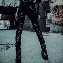 Fitshinling Punk Gothic Autumn Winter Pencil Pants Women Faux Leather Lace Up Zipper Trousers Black Dark Long Joggers Harajuku