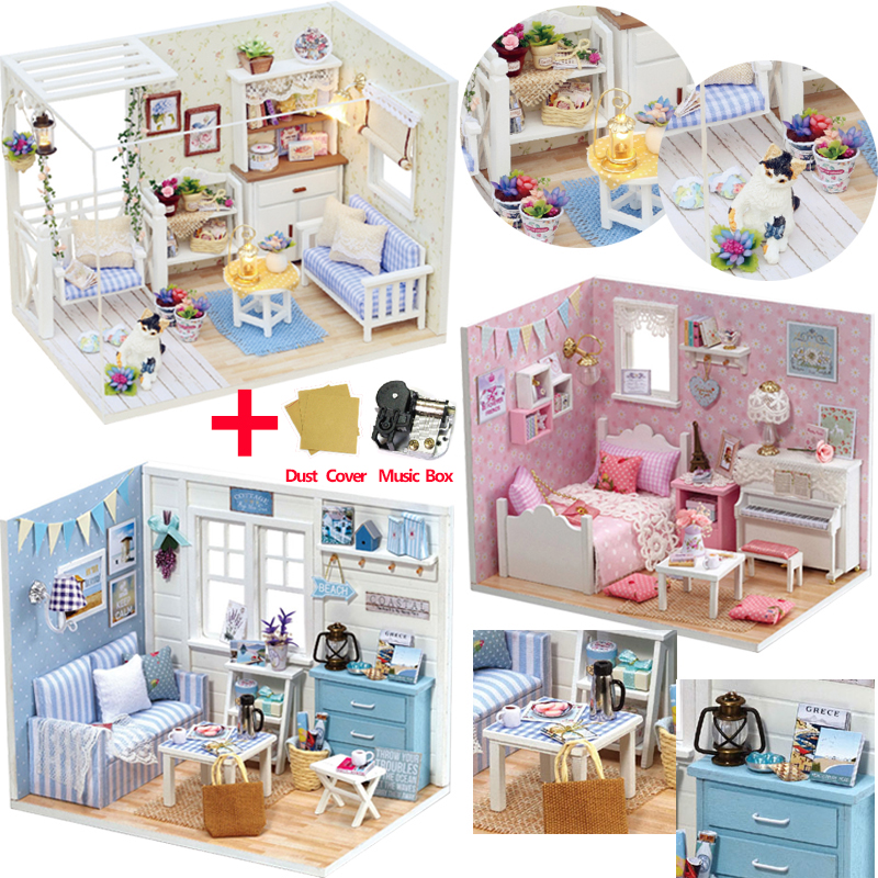 Doll House Furniture DIY Miniature Model Dust Cover 3D Wooden Dollhouse Christmas Gifts Toys For Children Kitten Diary H013 #E(China)