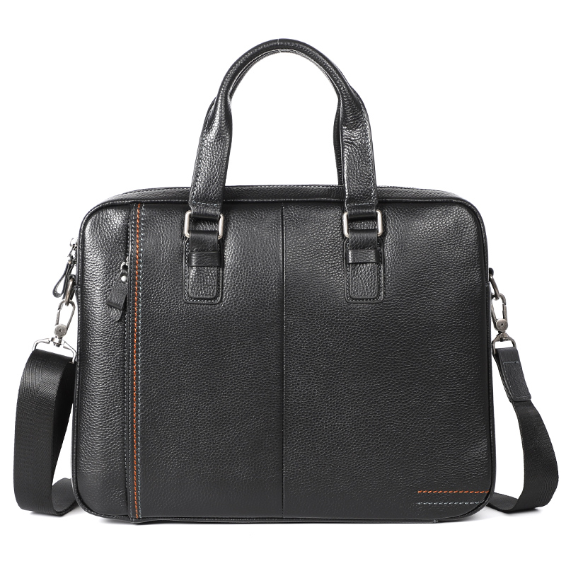 Nesitu High Quality A4 Black Blue Coffee Genuine Leather Office Men Briefcase Portfolio Business Shoulder Messenger Bags M255605