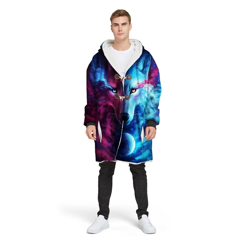 Couverture à capuchon de loup rouge de série d'animaux personnalisés pour le manteau de chandail en peluche portable de Guy