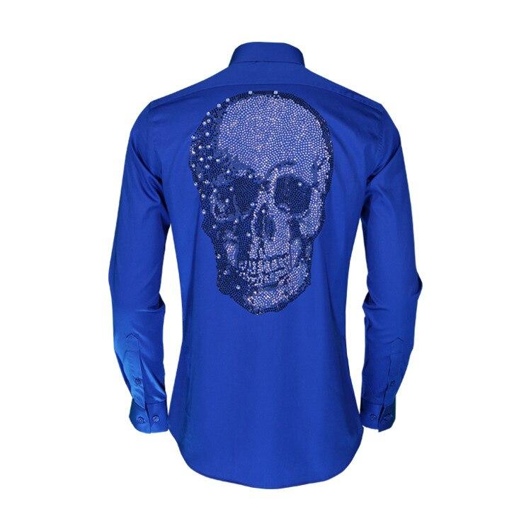 2018 Autumn And Winter New Style Big Brand Fashion Slim Fit Shirt Import Crystal Rhinestone Skeleton Skull Head Long Sleeve