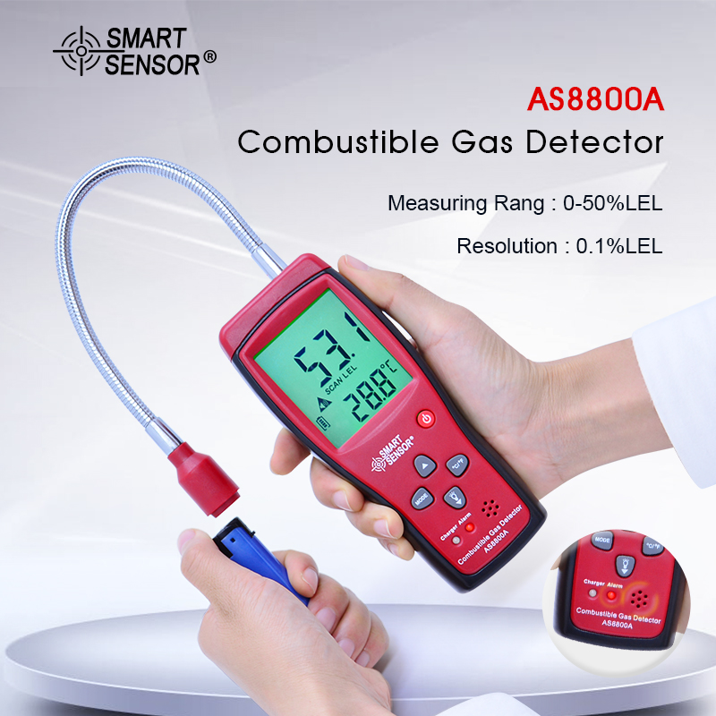 AS8800A Gas detector Digital Combustible gas analyzer flammable gas Leak Detector flammable toxic gases detector with battery