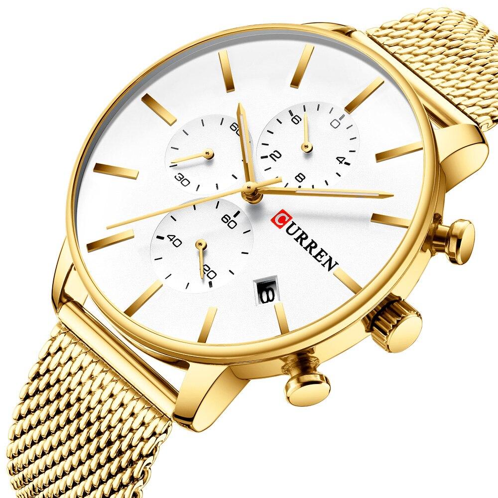 Wrist Watches Curren Men Clock Male Date Quartz Business Stainless-Steel Fashion Luxury