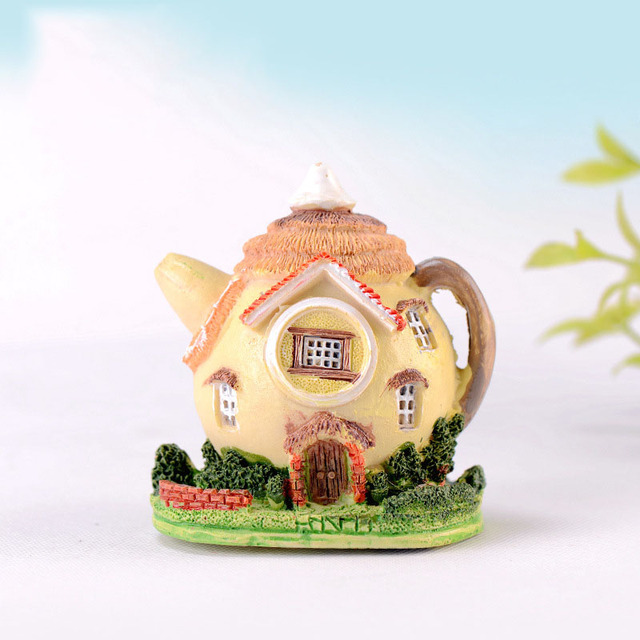 Teapot House Miniature Fairy Garden Miniaturas Micro Moss Landscape Diy Terrarium Accessories Figurines for Home Decor 6