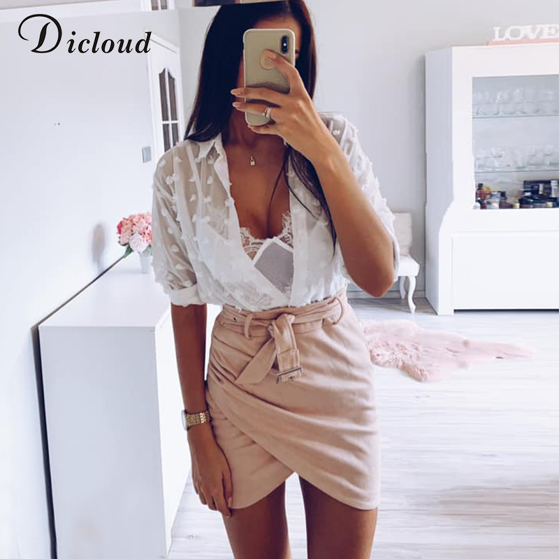 DICLOUD Sexy Fashion Woman White Blouses 2019 Long Sleeve Beach Tunic Elegant Dot Shirt Casual Chiffon