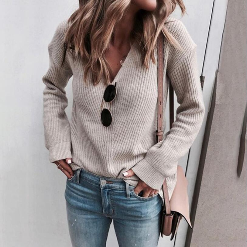 Knitted Sweaters Women 2019 Winter Autumn Casual V Neck Women Pullover Sweater Long Sleeve Green Black White Pink Jumper Mujer