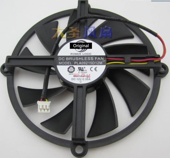 Original 100% trabalhando pla09215d12m dc 12v 0.35a rolamento de esferas 100mm hd5850/5870/5830 placa gráfica ventilador de refrigeração