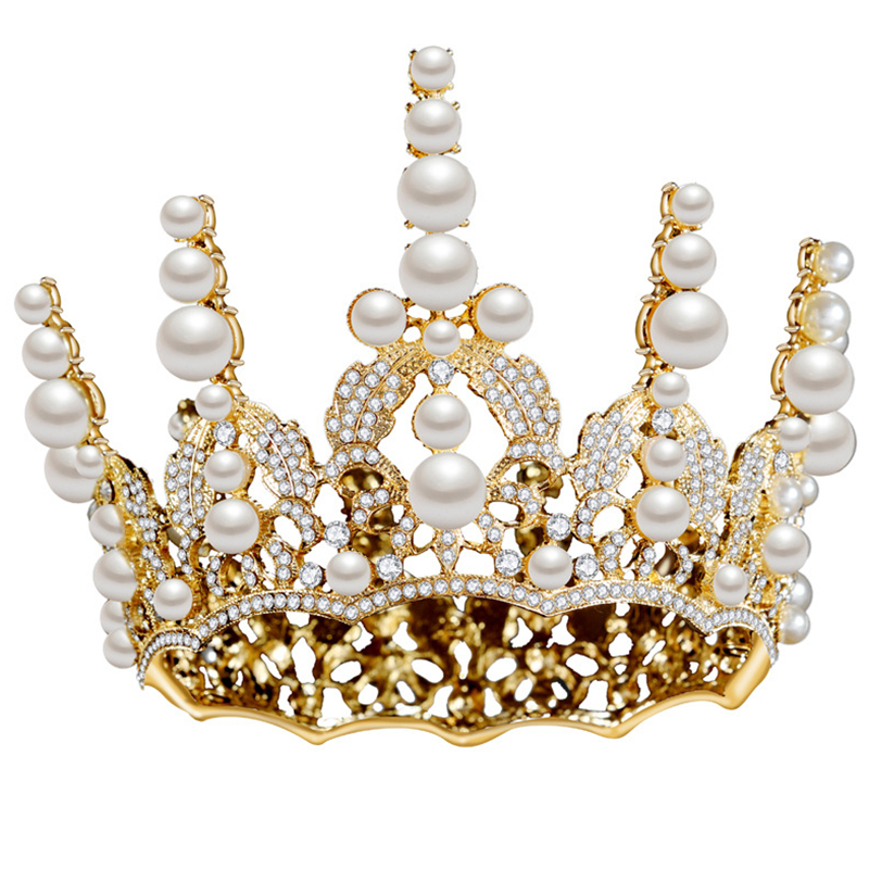 HG11270 Classic Baroque round crown tiara elegant gold pearl rhinestone crown fashion bridal wedding headpiece hair decoration