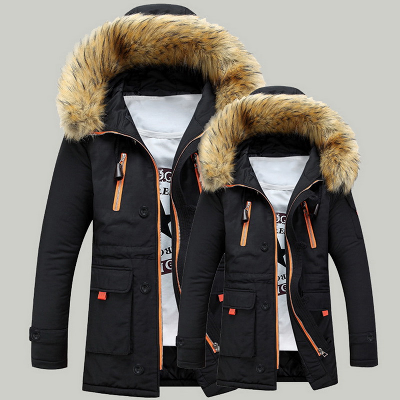 Men Brand Winter Faux Fur Collar Long Thick Cotton Parkas Jacket Coat Men Hooded Pockets Outwear Waterproof  Parka Men