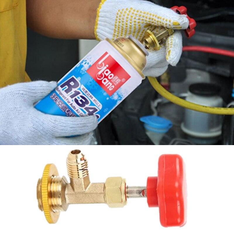 Z kranu na butelce R134 R22 zawór otwieracz do butelek samochód może z kranu instalacja adaptera czynnika chłodniczego narzędzie mini klimatyzator akcesoria
