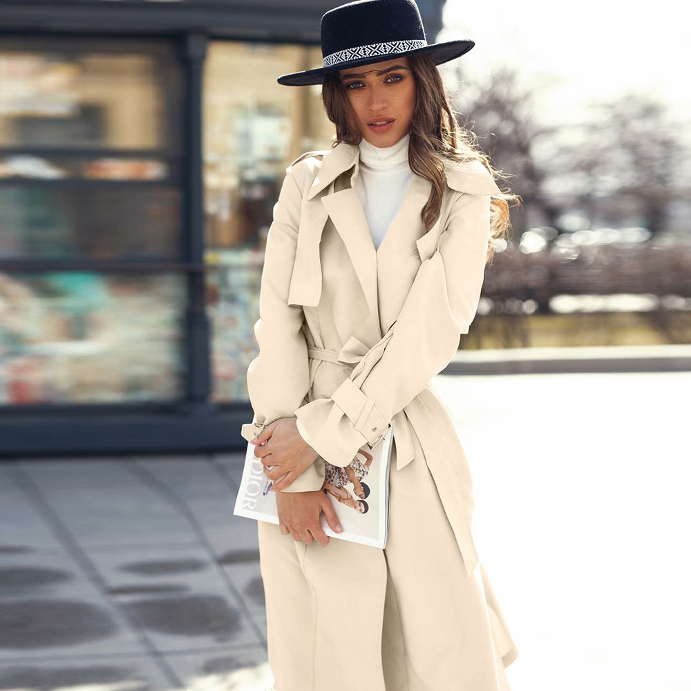 Fashion 2019 Fall Autumn Casual Long   Trench   Coat Chic Office Lady   Trench   Coat With Belt Female Classic Windbreaker Outwear D25