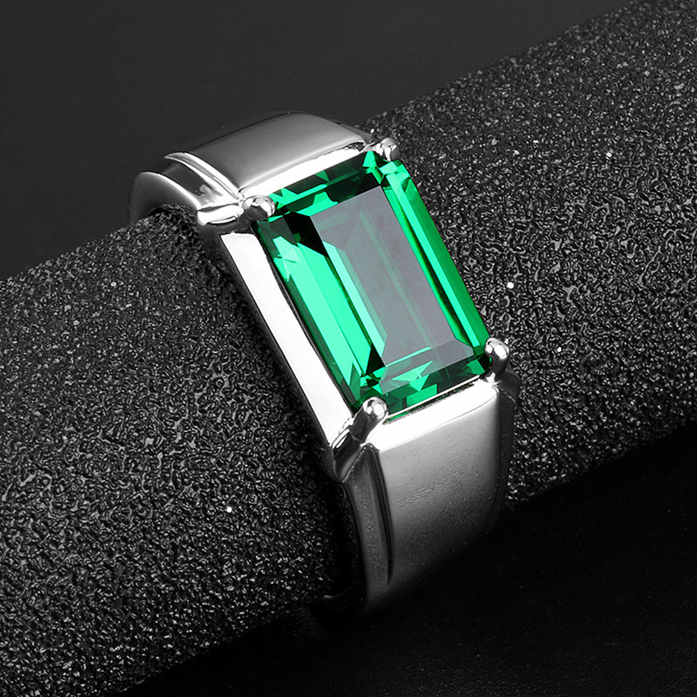 Fashion cool green crystal emerald gemstones rings for men white gold silver color jewelry bague ring party accessories gifts