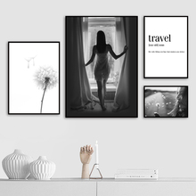 Girl Dandelion Quote Black White Wall Art Print Canvas Painting Nordic Canvas Posters And Prints Wall Pictures For Living Room цена и фото