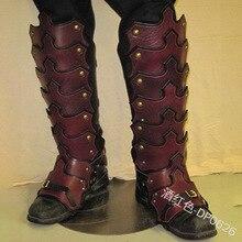 ハロウィンレトロコスプレ騎士ソリッドカラーステッチ革チューブ靴カバーユニセックスステージアクセサリー Cos 足カバー