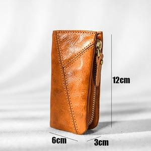 Image 5 - AETOO Copper buckle leather key bag, mens zipper car key bag, psoriasis multi functional waist padkey key bag woman