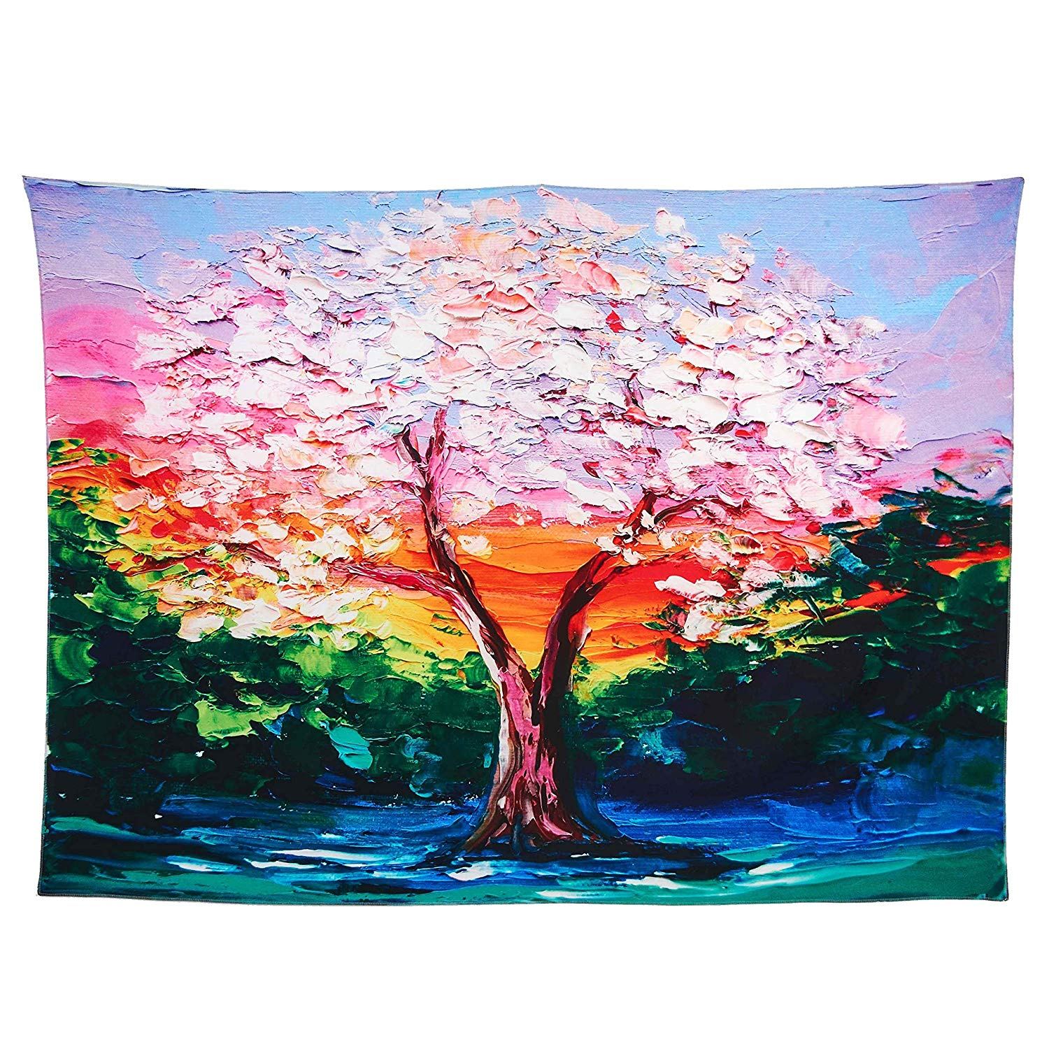 Colorful Tree Tapestry Wall Hangings Bohemian Red And Green Oil Painting Style Big Tree Prints