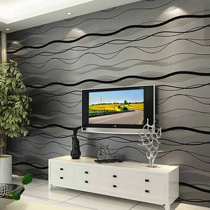 Image 2 - 3D שאינו ארוג פס עקום טפט רול בית תפאורה סלון חדר שינה קיר כיסויי כסף פרחוני יוקרה קיר נייר