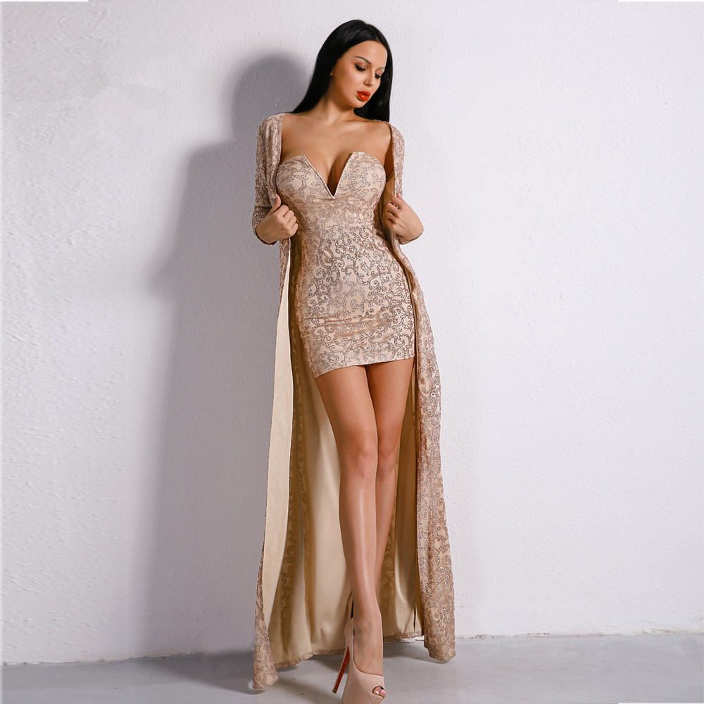 Hot Sale Fashion Celebrity  Sexy Women V-Neck Sequined Body Con Play Suit Night Club Party Play Suits Wholesale