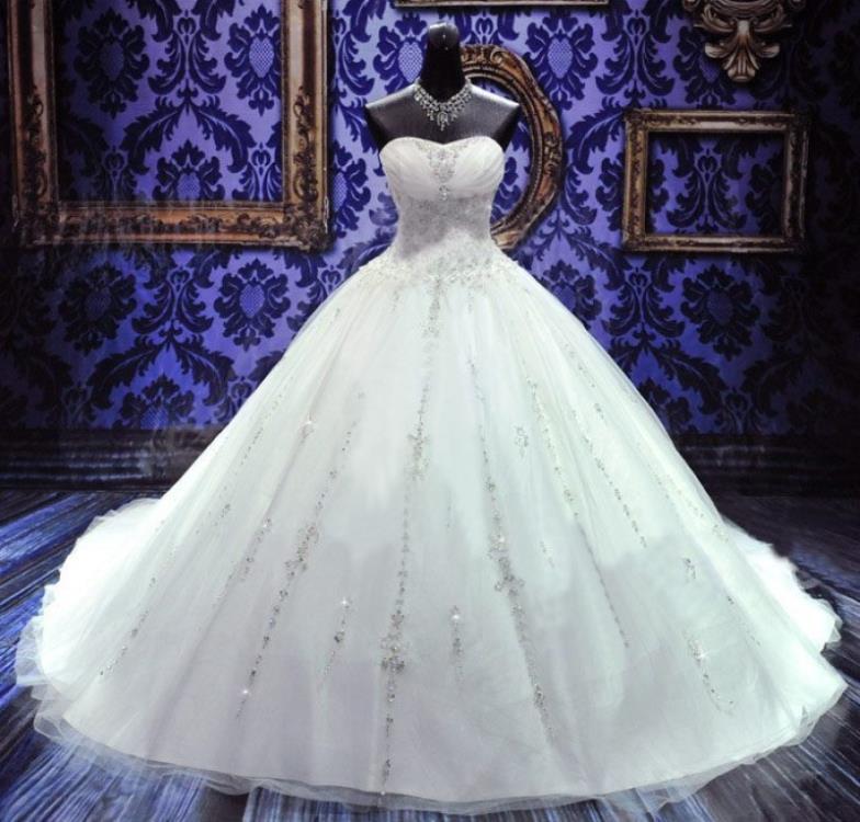 Free Shipping 2016 New Fashion Bride Long Elegant Vestidos Formal Luxury Crystal Sweetheart Bridal Ball Gown Wedding Dresses