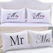 1 пара белый романтический Mr Mrs пара наволочка Подушка покрывало домашняя ткань для постельного белья