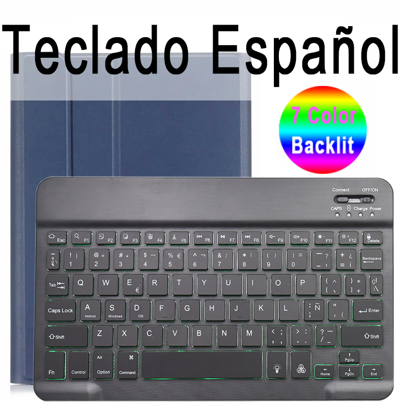 Spanish Keyboard Clear 7 Colors Backlit 3 0 Bluetooth Keyboard Case for iPad 10 2 Keyboard Case for Apple