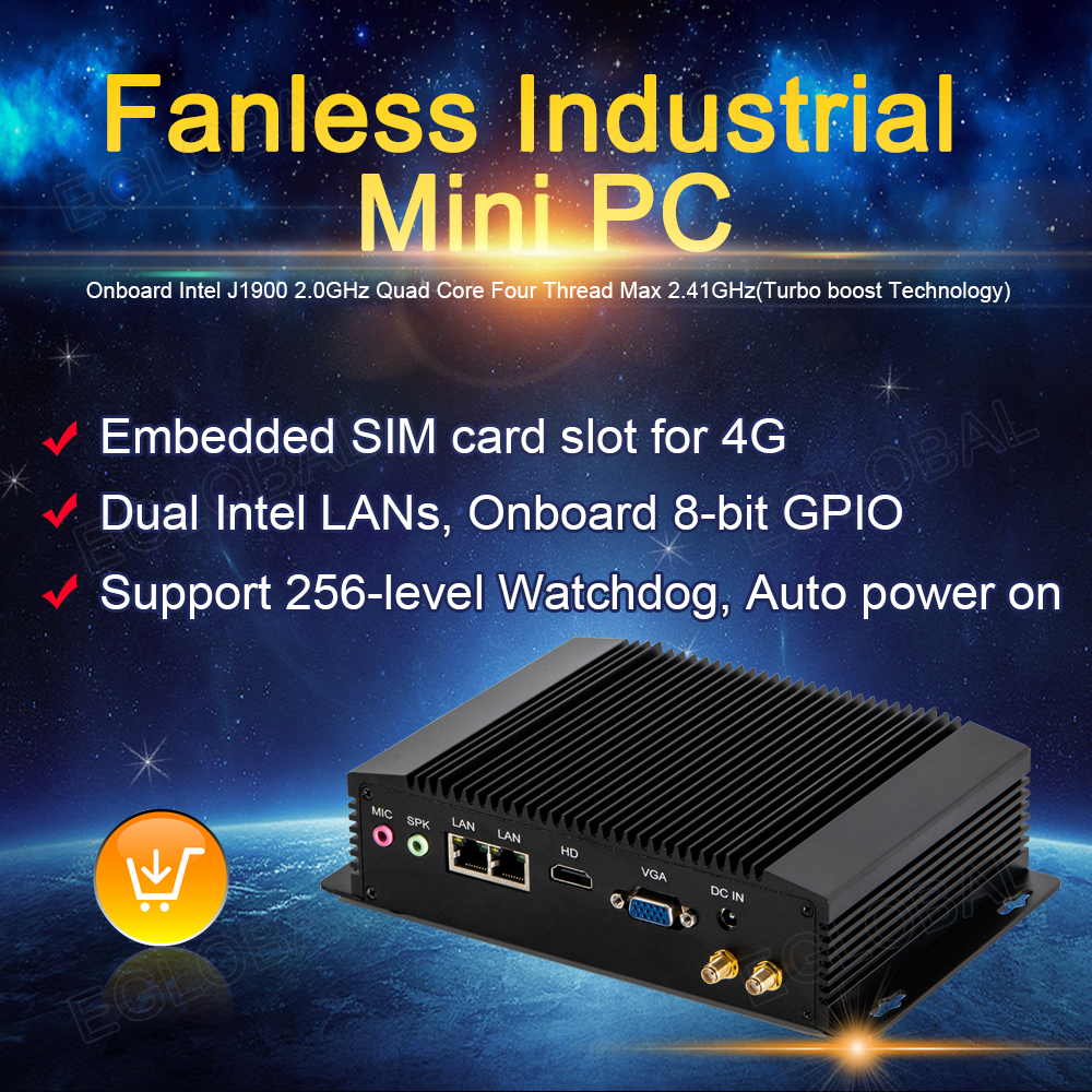 EGLOBAL G2 Industrial Embedded Pc IOT Computer J1900 Mini Pc Embedded SIM Card Slot For 4G