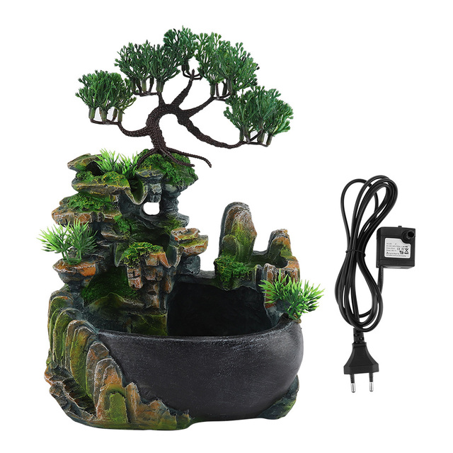 1PC Mini Desktop Fountain Waterfall Small Rockery Feng Shui Wheel Greenery Home Decoration Humidifier Desk Decoration Gifts 2