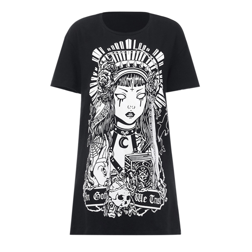 vestido de mujer Plus Size Women Street Gothic Style Punk Black Retro Printed Short Sleeve Dress