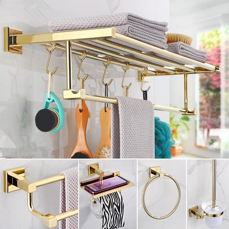 Аксессуары для ванной комнаты вешалка для полотенец, держатель для туалетной щетки, держатель для полотенец рейнджер, крючки латунный мате...