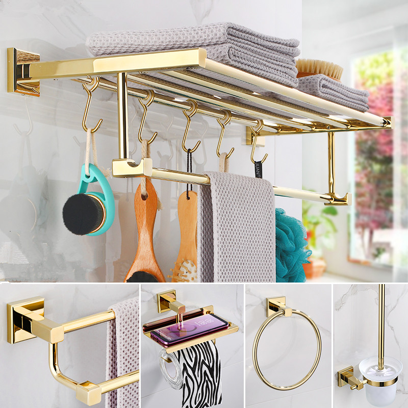 Bathroom Accessories Towel Rack,Paper holder Toilet Brush Holder,Towel Ranger,Hooks  Brass Material Gold Bath Hardware Sets