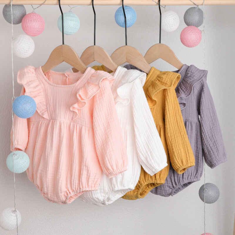 Одежда для новорожденных девочек от 0 до 24 месяцев боди с длинными рукавами, элегантный повседневный однотонный хлопковый топ, пляжный костюм, Милый наряд