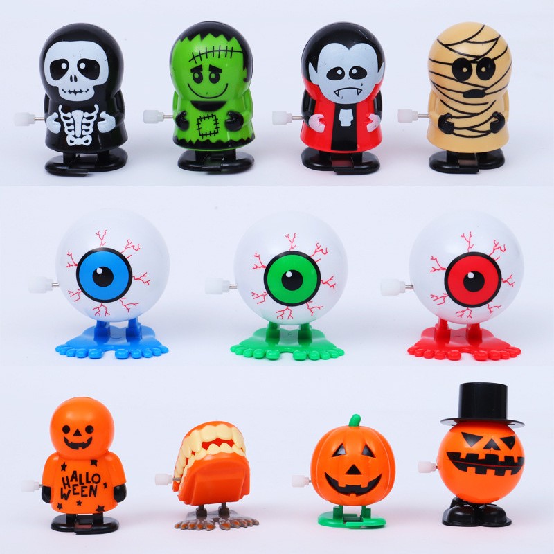 1 Halloween Pumpkin Hair Strip Jumping Ghost Toy Mechanic Educational Game Prank Decoration Toy Children's Holiday Gift JM304