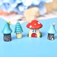 3 pçs/set desenhos animados do vintage azul mini casa em miniatura mini artesanato jardim de fadas micro paisagismo decoração para casa acessórios