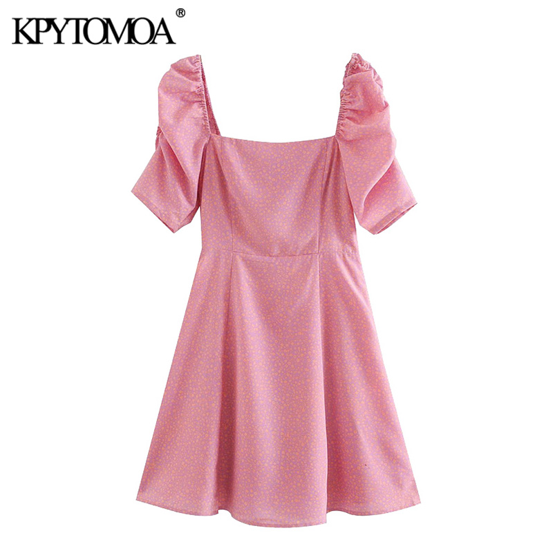 KPYTOMOA Women 2020 Sweet Fashion Floral Print Mini Dress Vintage Puff Sleeves Side Zipper Back Elastic Female Dresses Vestidos