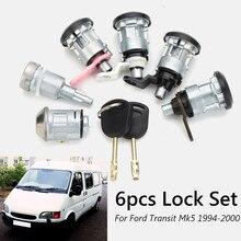6 pces conjunto completo de bloqueio de esquerda direita frente porta traseira ignição com 2 chaves para ford transit mk5 1994 2000