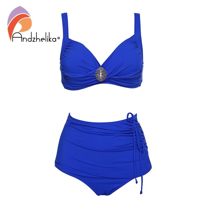 Andzhelika Solid Bikini Women Metal Brooch Bikini Set High-waisted Two Pieces Swimwear 2020 Beach Bathing Suits Swimsuits  Plus