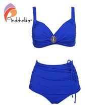 Andzhelika stałe Bikini kobiety metalowa broszka Bikini zestaw wysokiej zwężone strój kąpielowy dwuczęściowy 2020 plaża kostiumy kąpielowe stroje kąpielowe Plus