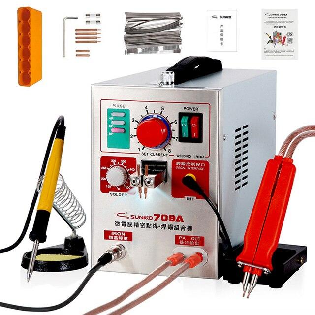 SUNKKO 709A ספוט רתך 1.9KW LED אור דופק מכונת ריתוך נקודת סוללה עבור 18650 סוללות ריתוך דיוק ספוט רתכים