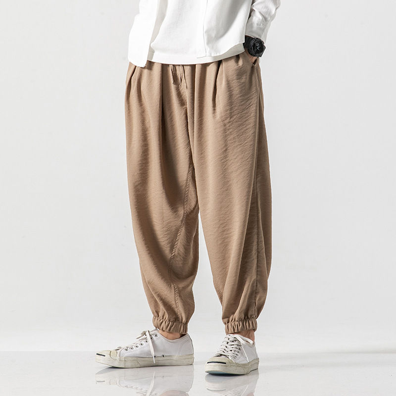 Athletic Pants Men's 2019 Harem Ankle Banded Pants Loose-Fit Plus-sized Large Size Fat Lantern Casual Pants Loose Pants Capri Pa