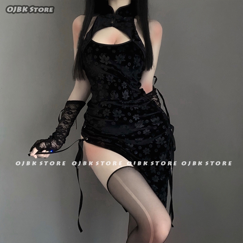 Sexy Cosplay Costume Black Cheongsam Erotic Anime Ladies Babydoll Dress Women Lace Outfit Fancy Slim Fit Open Chest Uniform