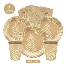 32pcs 8Guests Disposable Palm Leaf Kraft Gold Foil Tableware Sets Plates Cups Napkins Birthday Party Wedding Decration Eco