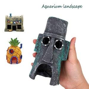 Kleine Aquarium Sponge Bob Decoratie Ananas Huis Squidward Paaseiland Aquarium Decoratie Spongebob Figuren Decor(China)