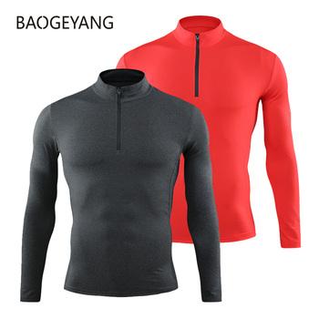 Koszulka kompresyjna koszulka treningowa sportowa koszulka do biegania koszulka z krótkim rękawem męska koszulka treningowa rashgard gym athletic topy odzież tanie i dobre opinie BAOGEYANG CN (pochodzenie) Pasuje prawda na wymiar weź swój normalny rozmiar Szybkie suche black white dark gray red