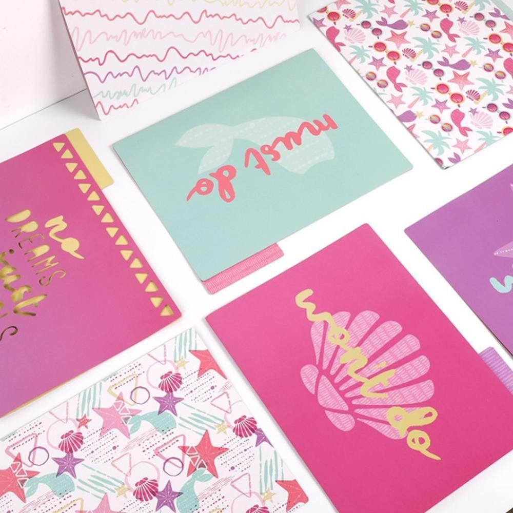 A4 Decorated File Folders Pack Of 9pcs Decoration Various File Folder Separator Page Folder Set With 1/3 Cropping Label