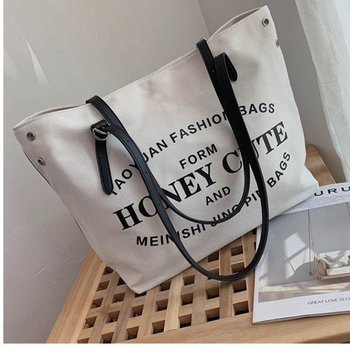 Hot Sale New Womens Handbag Korean Fashion Canvas Travel Storage Bag Large Capacity Women Shopping