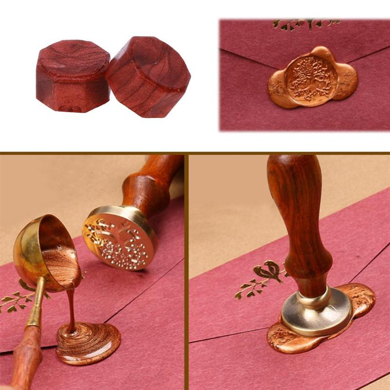 100pcs/Lot Retro Octagon Sealing Wax Beads Stamping Envelope Decor Wax Seal Stamps For Envelope Documents Wedding Invitation