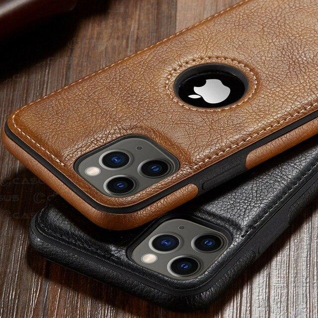 Pour iphone 11 11 Pro 11 Pro Max étui de luxe en cuir d'affaires couture housse pour iphone XS Max XR X 8 7 6 6S Plus étui 1