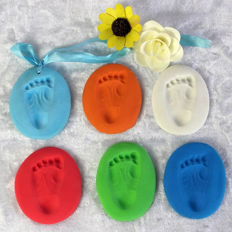Newborn Children Kid Baby Couple Lover Foot Hand Finger Print Clay Mud Casting Memory Record E65D